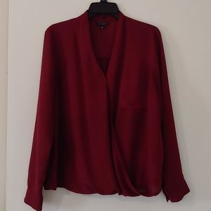 Long-sleeved TopShop maroon blouse